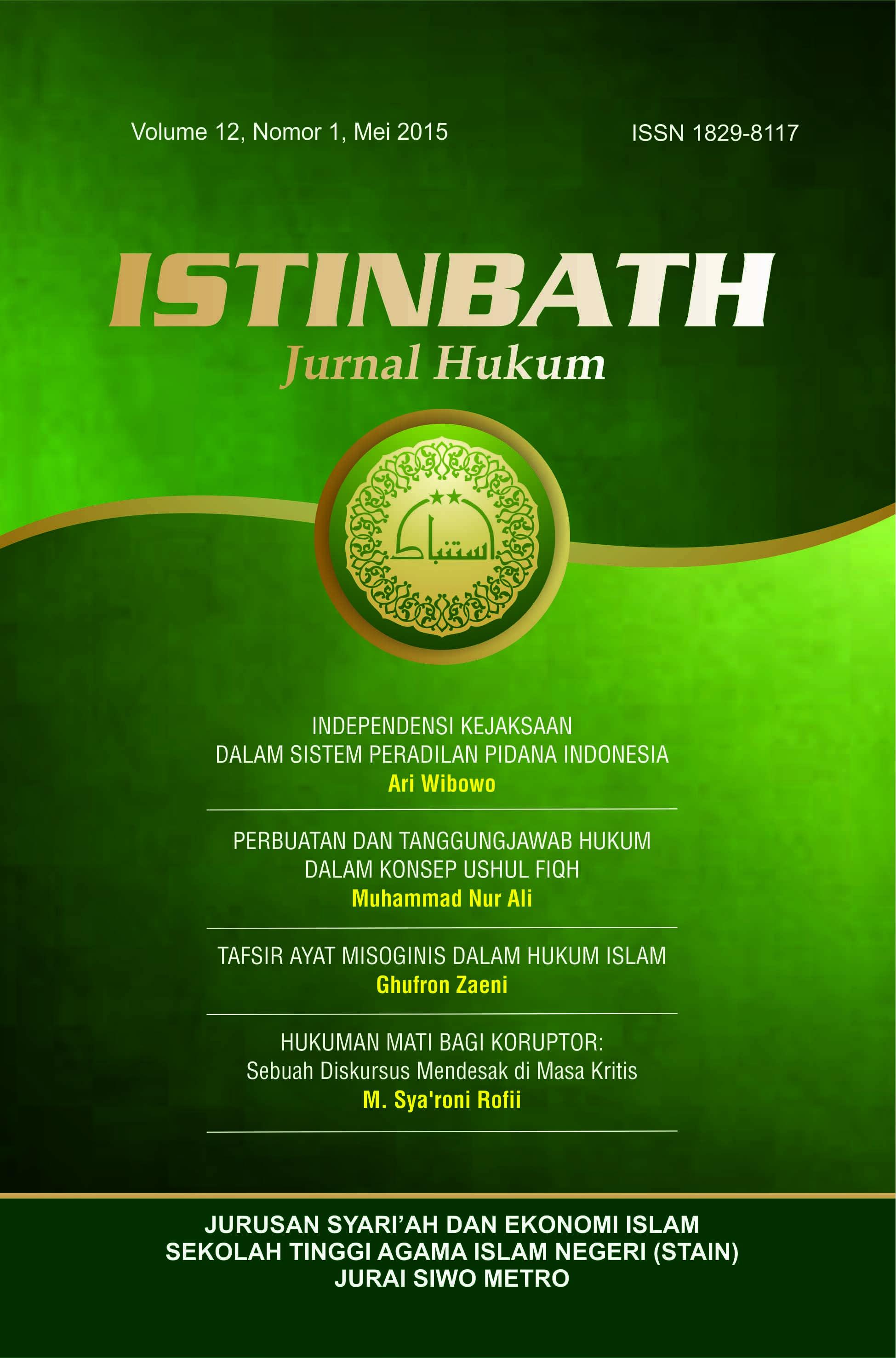 Kejahatan Anak Menurut Hukum Pidana Positif Dan Hukum Pidana Islam Istinbath Jurnal Hukum